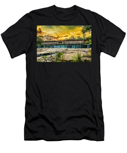 Men's T-Shirt (Athletic Fit) featuring the photograph Watson Mill Covered Bridge by Michael Sussman
