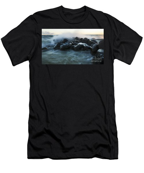Wave Crashes Rocks 7959 Men's T-Shirt (Athletic Fit)