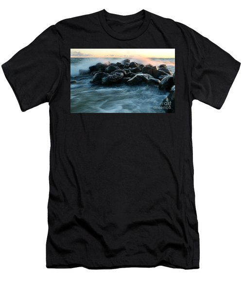 Wave Crashes Rocks 7941 Men's T-Shirt (Athletic Fit)