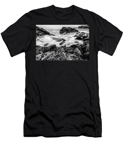 Waves Against A Rocky Shore In Bw Men's T-Shirt (Athletic Fit)