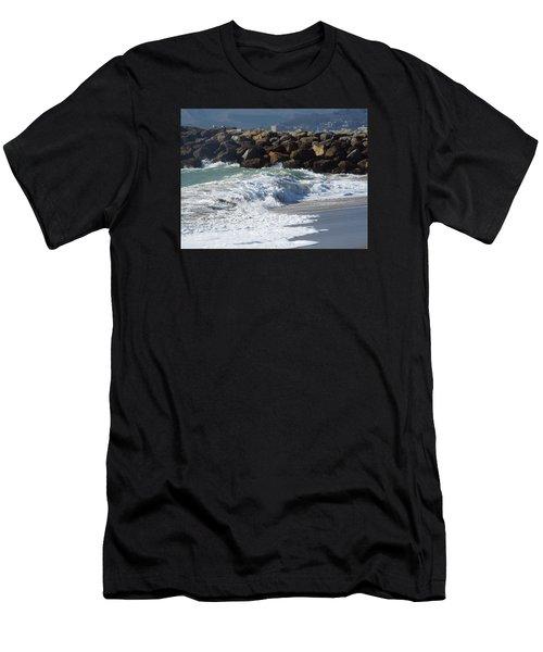 Waves Against Breakwater Men's T-Shirt (Athletic Fit)
