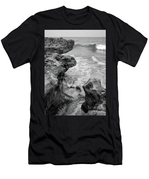 Waves And Coquina Rocks, Jupiter, Florida #39358-bw Men's T-Shirt (Athletic Fit)