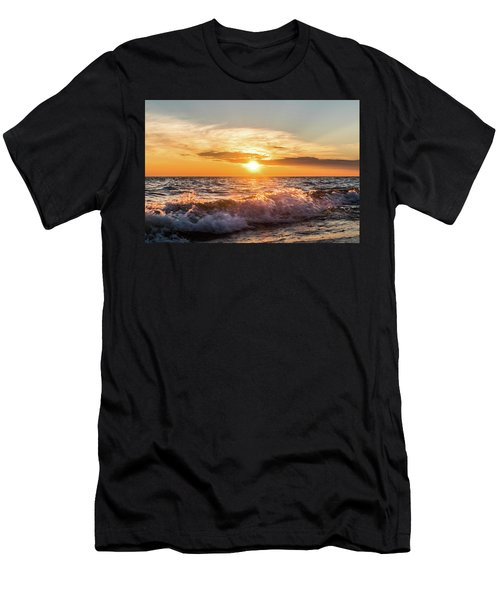 Waves Crashing With Suset Men's T-Shirt (Athletic Fit)