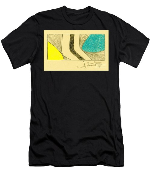 Waves Yellow Blue Men's T-Shirt (Athletic Fit)
