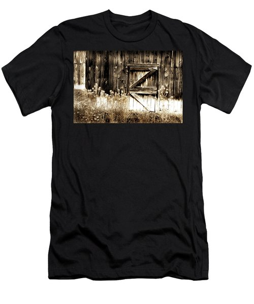 Men's T-Shirt (Slim Fit) featuring the photograph Weathered Barn Door by Gray  Artus