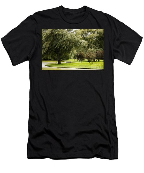 Weeping Willow Trees On Windy Day Men's T-Shirt (Slim Fit) by Carol F Austin