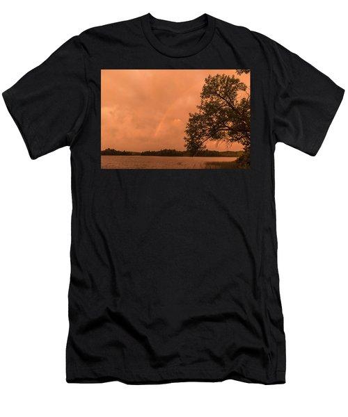 Strange Orange Sunrise With Rainbow Men's T-Shirt (Athletic Fit)