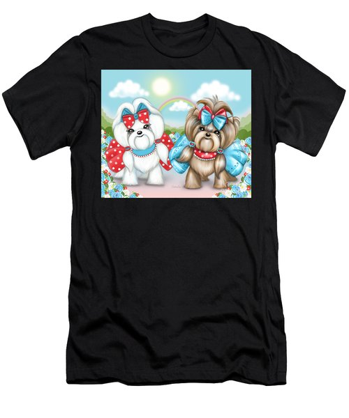 Men's T-Shirt (Athletic Fit) featuring the painting Welcome Spring Maltese And Yorkie by Catia Lee