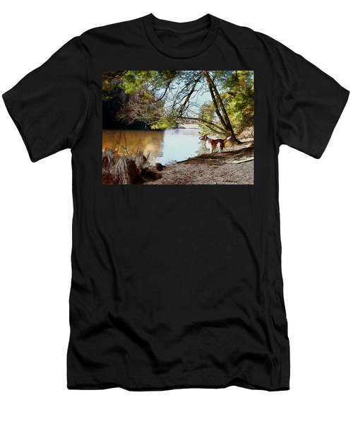 Men's T-Shirt (Slim Fit) featuring the painting Welsh Springer Spaniel By The River by Kai Saarto