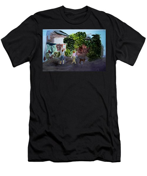 Men's T-Shirt (Slim Fit) featuring the painting West End Shopping by Donna Walsh
