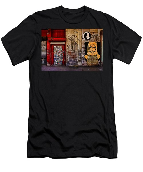 Men's T-Shirt (Athletic Fit) featuring the photograph West Village Wall Nyc by Chris Lord