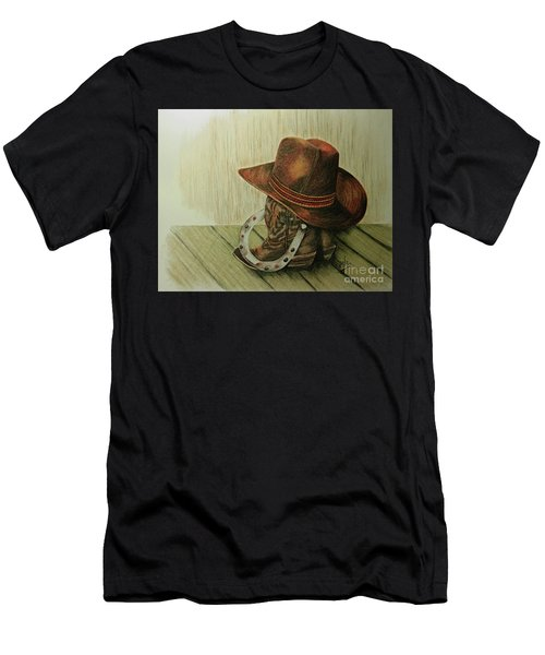 Men's T-Shirt (Slim Fit) featuring the drawing Western Wares by Terri Mills