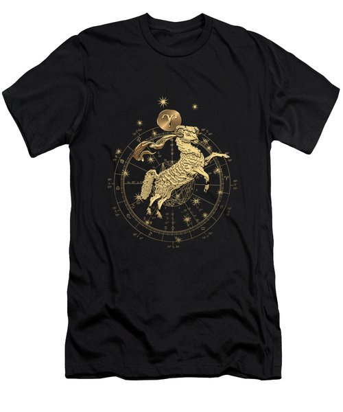Western Zodiac - Golden Aries -the Ram On Black Canvas Men's T-Shirt (Athletic Fit)