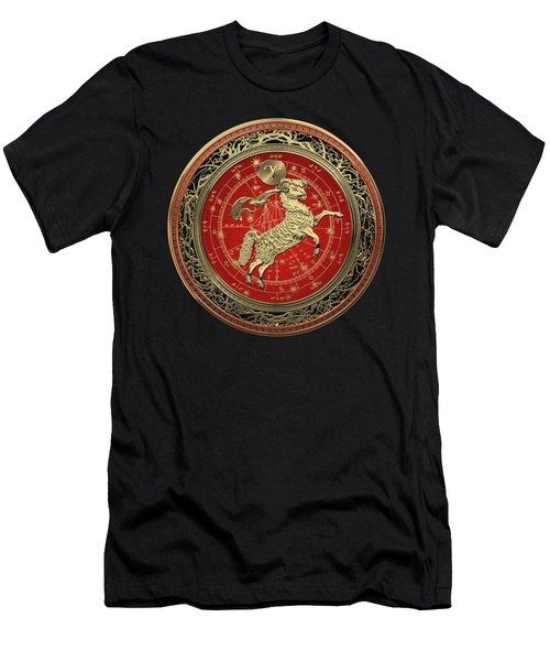 Western Zodiac - Golden Aries -the Ram On Black Velvet Men's T-Shirt (Athletic Fit)
