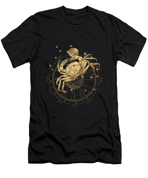 Western Zodiac - Golden Cancer - The Crab On Black Canvas Men's T-Shirt (Athletic Fit)
