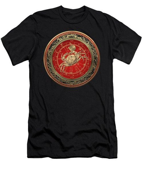 Western Zodiac - Golden Cancer - The Crab On Black Velvet Men's T-Shirt (Athletic Fit)