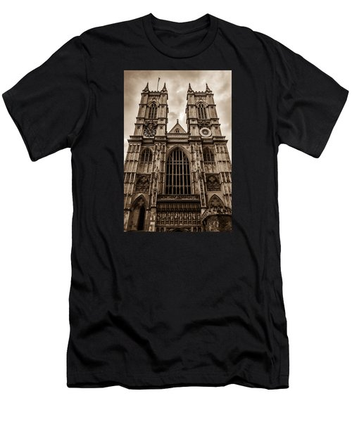 Westminister Abbey Sepia Men's T-Shirt (Athletic Fit)