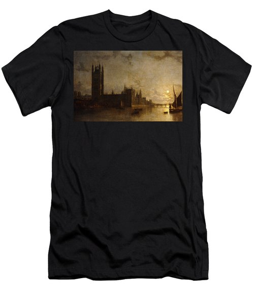 Westminster Abbey, The Houses Of Parliament With The Construction Of Westminster Bridge Men's T-Shirt (Athletic Fit)