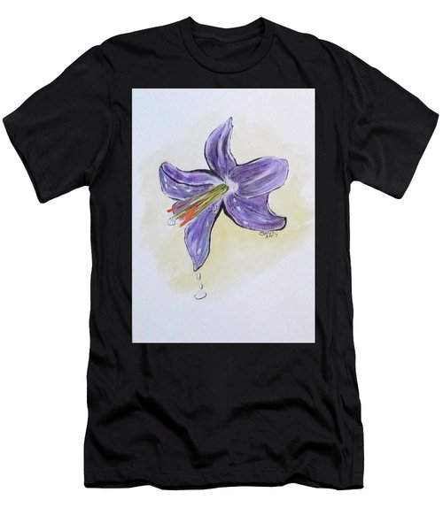 Men's T-Shirt (Athletic Fit) featuring the painting Wet Flower by Clyde J Kell