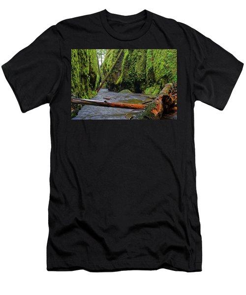 Men's T-Shirt (Slim Fit) featuring the photograph Wet Trail by Jonathan Davison