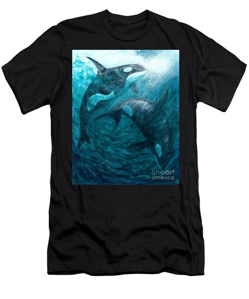 Whales  Ascending  Descending Men's T-Shirt (Athletic Fit)