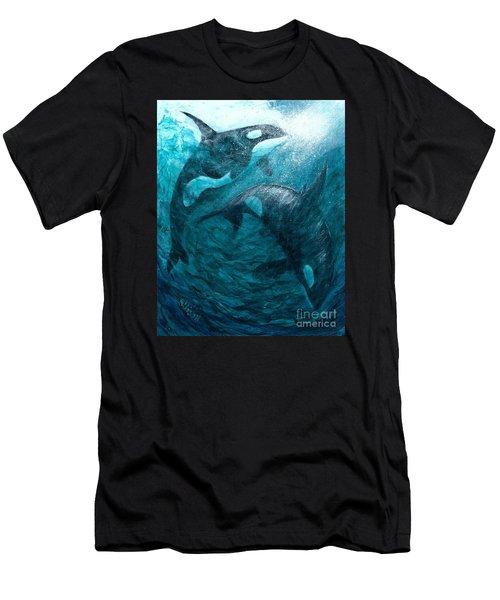 Whales  Ascending  Descending Men's T-Shirt (Athletic Fit)