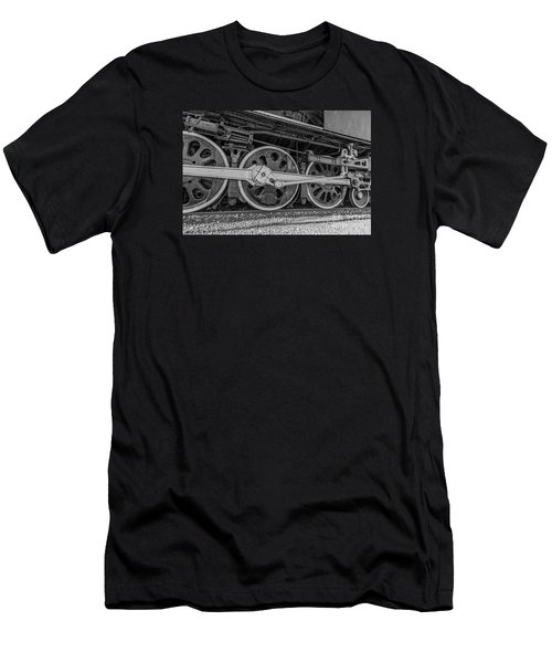 Men's T-Shirt (Athletic Fit) featuring the photograph Wheels On A Locomotive by Sue Smith