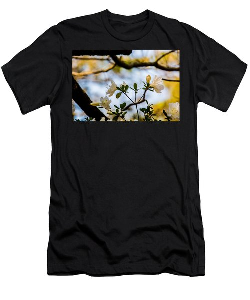 Whie Azaleas Under A Dogwood Tree Men's T-Shirt (Slim Fit) by John Harding