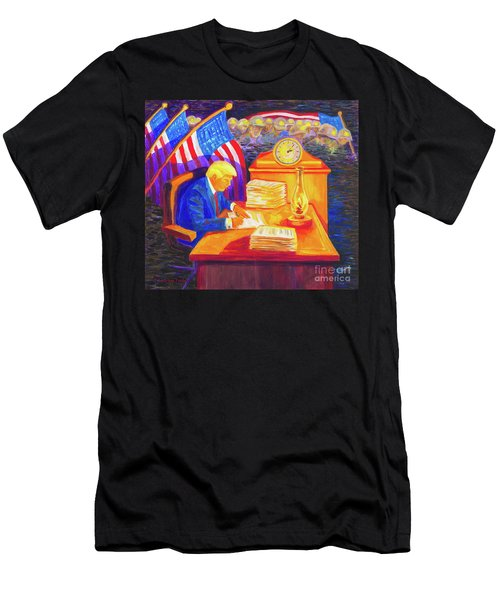 While America Sleeps - President Donald Trump Working At His Desk By Bertram Poole Men's T-Shirt (Athletic Fit)