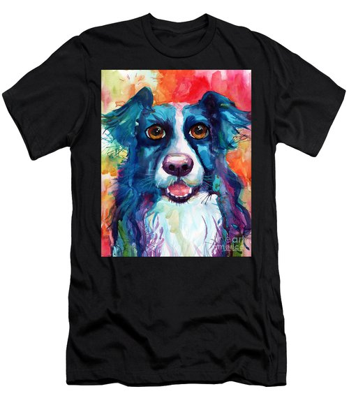 Whimsical Border Collie Dog Portrait Men's T-Shirt (Athletic Fit)