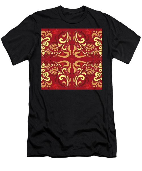 Whimsical Organic Pattern In Yellow And Red I Men's T-Shirt (Athletic Fit)