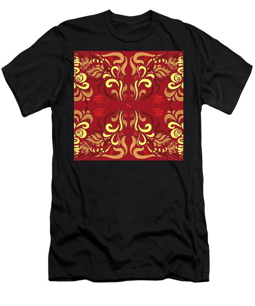 Whimsical Organic Pattern In Yellow And Red II Men's T-Shirt (Athletic Fit)