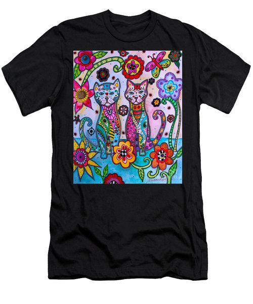 Whimsical Talavera Cats Men's T-Shirt (Athletic Fit)