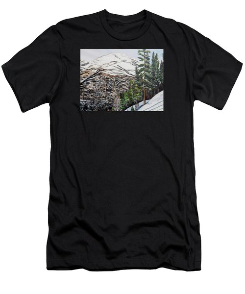 Men's T-Shirt (Slim Fit) featuring the painting Whispering Pines by Marilyn  McNish