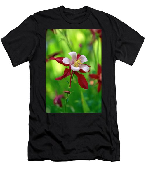White And Red Columbine  Men's T-Shirt (Athletic Fit)