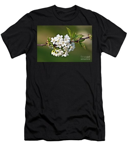 Men's T-Shirt (Athletic Fit) featuring the photograph White Apple Blossoms by Silva Wischeropp