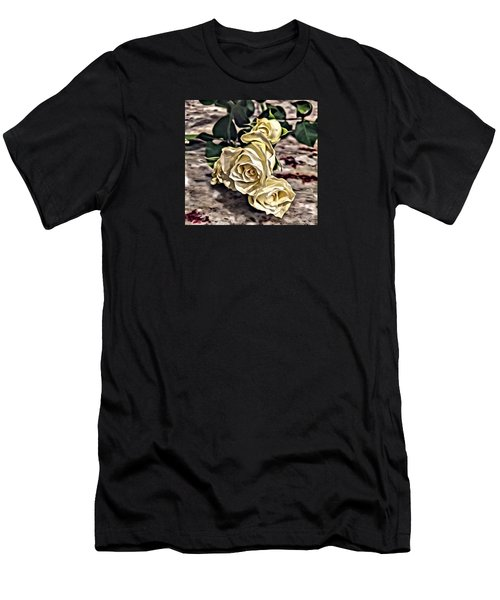 White Baby Roses Men's T-Shirt (Athletic Fit)