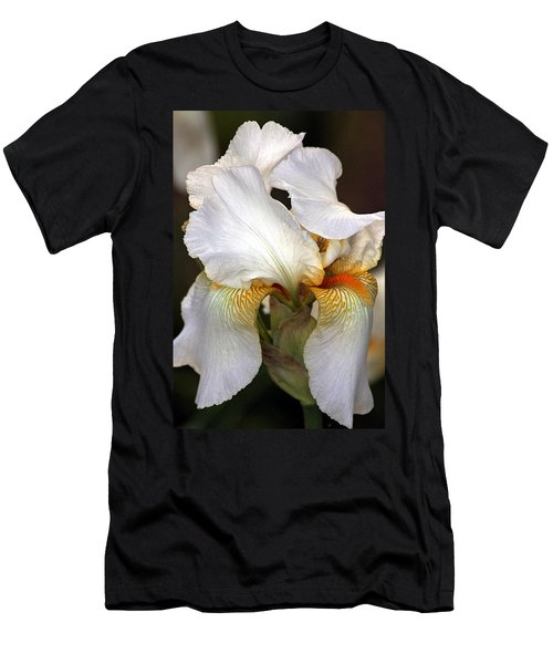 Men's T-Shirt (Slim Fit) featuring the photograph White Bearded Iris by Sheila Brown