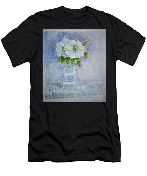White Blooms In Blue Vase Men's T-Shirt (Athletic Fit)