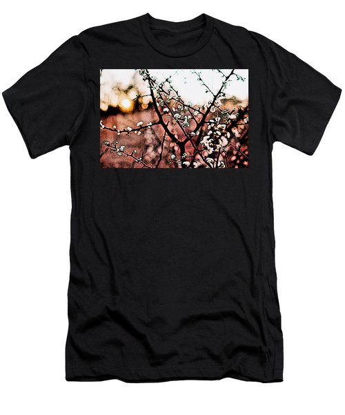 White Blossom Branches Men's T-Shirt (Slim Fit) by Carol Crisafi