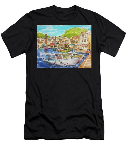 White Boat, Hydra Harbor Men's T-Shirt (Athletic Fit)