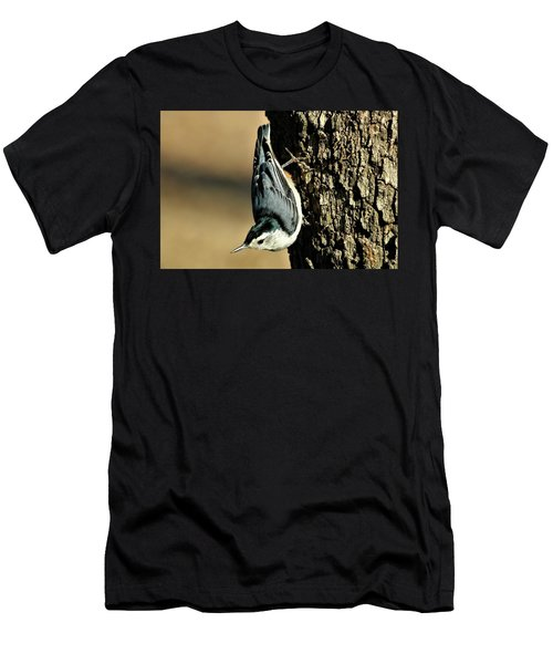 White-breasted Nuthatch On Tree Men's T-Shirt (Slim Fit) by Sheila Brown