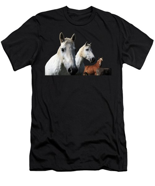 Men's T-Shirt (Athletic Fit) featuring the photograph White Camargue Horses On Black Background by Aidan Moran