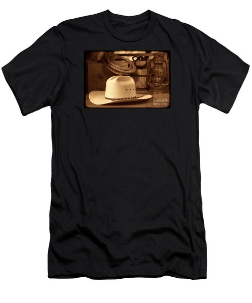 White Cowboy Hat On Workbench Men's T-Shirt (Athletic Fit)
