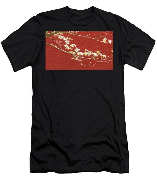 White Dogwood Brick Wall Men's T-Shirt (Athletic Fit)