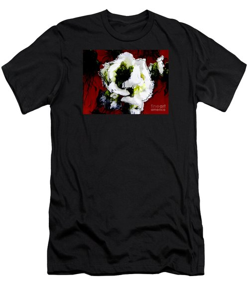 White Flower On Red Background Men's T-Shirt (Athletic Fit)