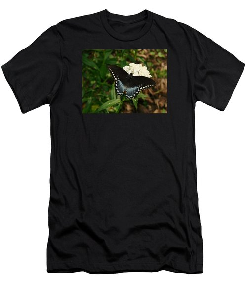 White Flowered Butterfly Men's T-Shirt (Athletic Fit)