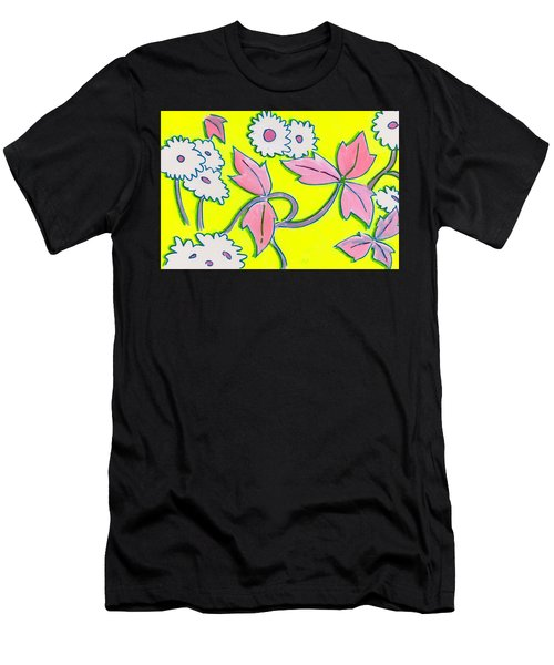 White Flowers On Bright Yellow With Light Purple Leaves Pattern Men's T-Shirt (Athletic Fit)
