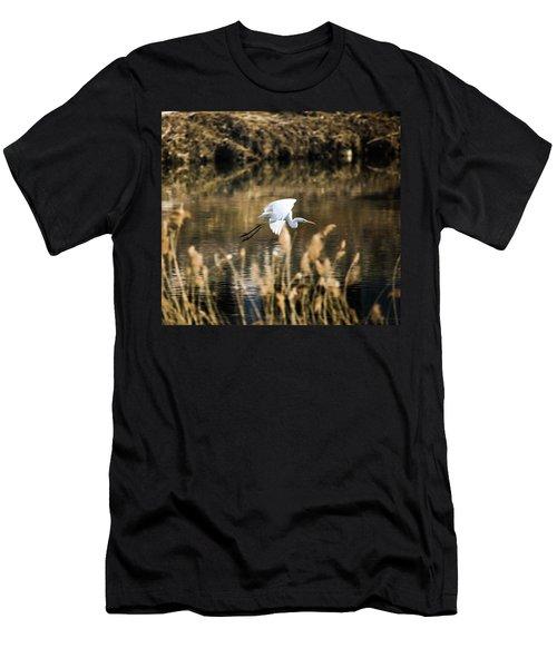 White Heron Men's T-Shirt (Slim Fit) by Hyuntae Kim
