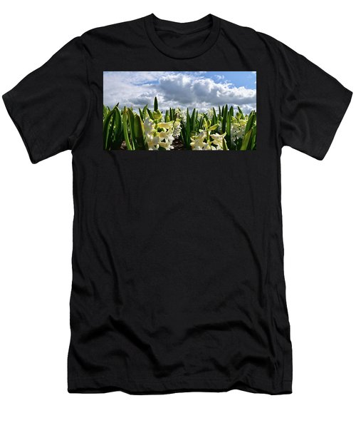 White Hyacinth Field Men's T-Shirt (Slim Fit) by Mihaela Pater